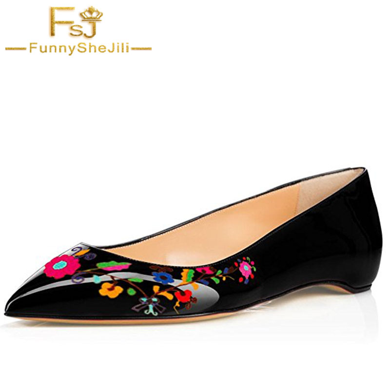 Black Women Pointed Toe Hidden Low Heels Shoes Slip On Ballet Flats Floral Printing Dress Shoes Size 4-16 US FSJ pu pointed toe flats with eyelet strap