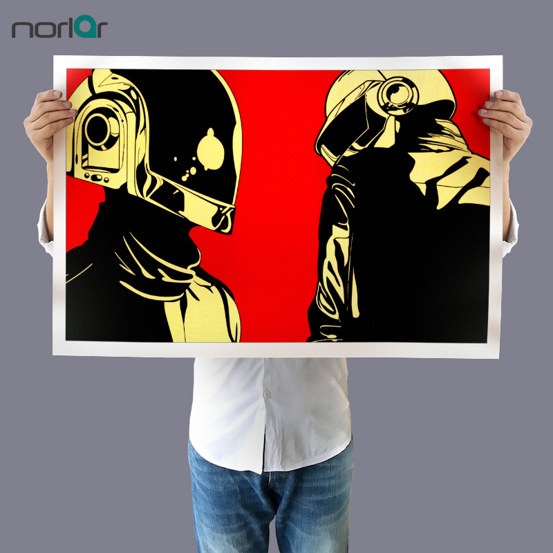 Art print canvas painting daft punk helmets house music for Pop house music