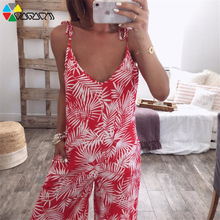 Women Sexy V Neck Summer Sling Leaf Print Backless Loose Boho Jumpsuit Plus Size S-2XL Lacing Beach Party Wide Leg Long Pants