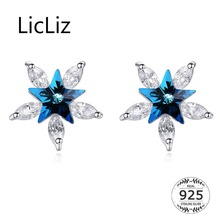 LicLiz 2019 New 925 Sterling Silver Clear Zircon Star Stud Earrings for Women Blue Crystal White Gold Flower Jewelry LE0592