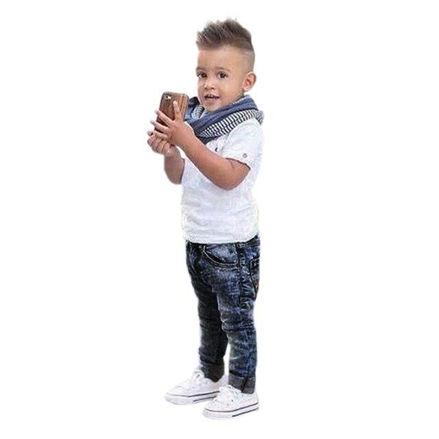 c2a90ce9c57c Brand Fashion Children Clothing 3pcs Boys Clothes Set Baby Boys Sports T- shirt +Kids Jeans Pants +Stripe Scarf Boys Outfits