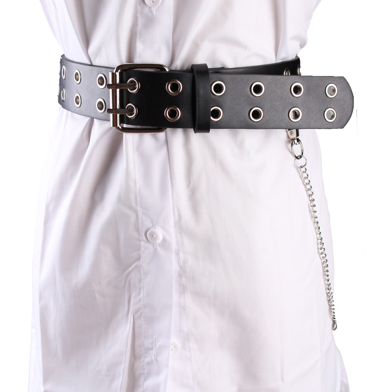 Double Pin Buckle Belts Fashion Black PU Leather Knotted Belt Girdle Rivets Stomata Chain Punk Casual Belt Two Layer Jean Strap