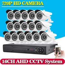 CANDY HD 16CH CCTV System AHD-NH DVR Recorder 16pcs 2000TVL 720P Video CCTV Digicam Safety House Surveillance Techniques Kits
