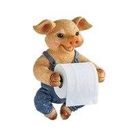 Pig Dog Toilet Paper Holder Toilet Hygiene Resin Tray Free Punch Hand Tissue Box Towel Holder Reel Spool Device R421