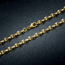 Solid AU750 Yellow Gold font b Necklace b font font b Chain b font Men s