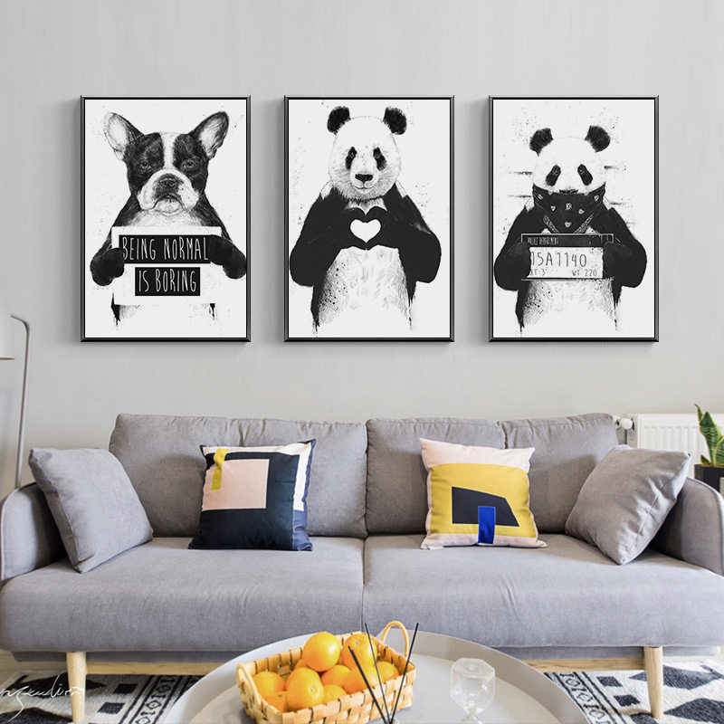 Cartoon Animal Home Decor Nordic Canvas Painting Wall Art Print Cute Panda Dog Poster Living Room Minimalist Black White Picture