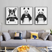 Cartoon Animal Home Decor Nordic Canvas Painting Wall Art Print Cute Panda Dog Poster Living Room Minimalist Black White Picture nordic minimalist cute animal children s room canvas painting art print poster picture wall living room bedroom home decor
