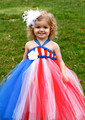Azure baby girl party dress girls tutu dress baby birthday party dress photography Red White Blue 4T  Girl tutu dress