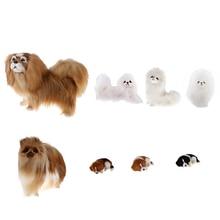 Реалистичный плюшевый симулятор животных пекинес собака модель для домашнего стола орнамент дети плюшевые животные игрушка день рождения креативный подарок