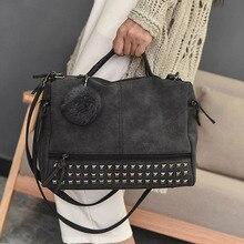 Fashion Vintage Nubuck Leather Ladies Handbags Rivet Larger Women Bags Hair Ball Shoulder Bag Motorcycle Messenger  Hand Bag