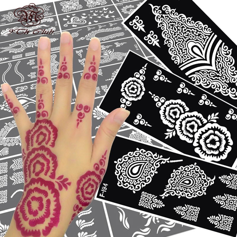 Buy 8pcs mehndi henna hand tattoo for Henna temporary tattoo stencils