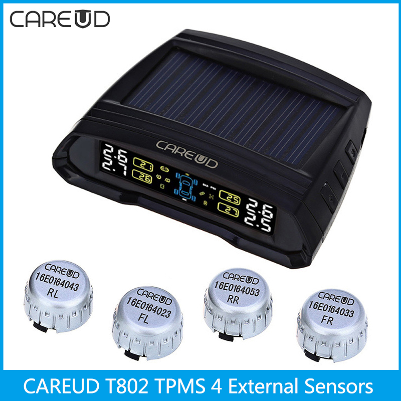 CAREUD T802 433.92MHz Wireless Auto Car TPMS Solar Power Tire Pressure Monitoring System 4 External Sensors English Display careud u903 wf tpms wireless tire pressure monitor with 4 external sensors