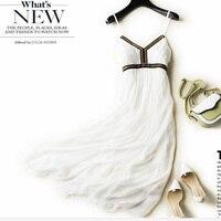 Новые белые шелковые платья Для женщин натуральный шелк высокое качество печати праздник пляжное платье Elegent Спагетти ремень v образным выр