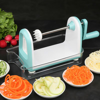 Multi function hand cranked vegetable cutter stainless steel vegetable slicer home kitchen spiral cutting machine ZP7101104