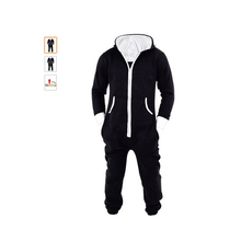 Centuryestar Tmall Quality Pajamas Onesie Adults Winter Hooded Homebre Sleepwear Warm Full Body Jumpsuit Clothes For Men Black