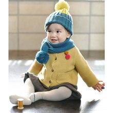 Шарф с двумя помпонами, Детские Зимние теплые шарфы с воротником для мальчиков и девочек, вязаный шарф с воротником для детей от 2 до 6 лет, SSA-19ING для малышей