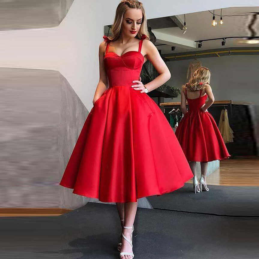 fdace514c09 Red Tea Length Prom Gowns Sweetheart Fashion Formal Party Dresses  Abendkleider 2018 Simple A-line