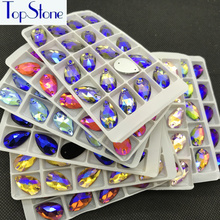 TopStone Teradrop Sew On Rhinestones Sewing Glass Crystal Multi AB Color  Droplet Beads for dress costume 74929fc6fb4c