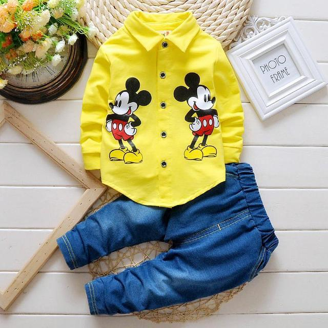 2017 Spring fashion children clothing set boys leisure cartoon shirt+ jeans pants 2pcs gentleman suit baby outfits kids clothes