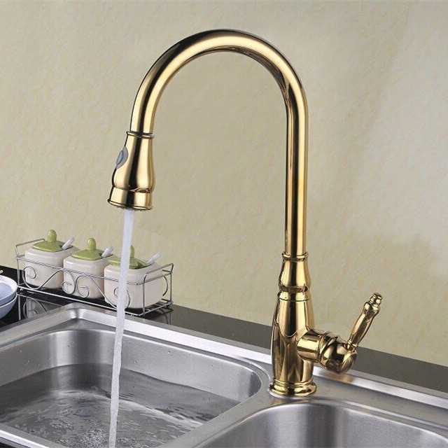 2017 Rushed New Polished Copper Filter Swivel Robinet Golden High Arc Pull-Out Kitchen Faucet Sprayer Bar Sink Mixer Tap
