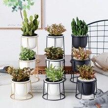 Planter Iron-Rack-Stand Display Flower-Pot Anti-Rust-Holder Geometric Ceramic Home-Decoration