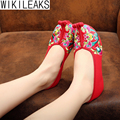 Women Linen Embroidery Tendon Soft Bottom Slip-On Old Beijing Shoes Woman Plus Size Chinese Style Wedges Cloth Walking Shoes