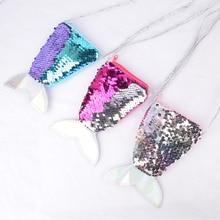 New Sequins Mermaid Tail Kids Shoulder Coin Bag Baby Girls Mini Messenger Cartoon Boys Small Purse Children Handbags