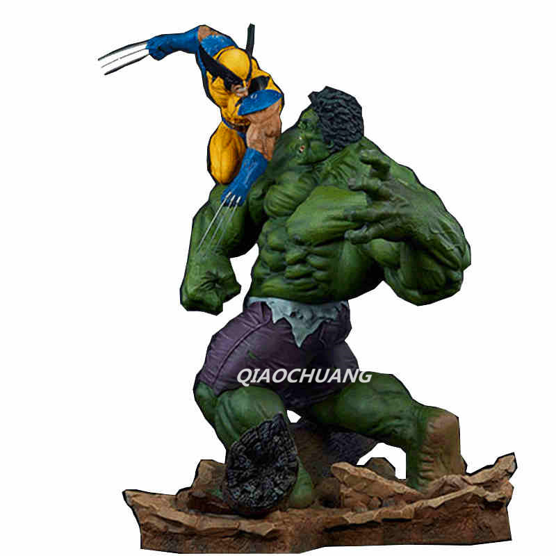 Statue Avengers Hulk VS Wolverine Bust 1:1 LIFE SIZE Logan Howlett Full-Length Portrait Robert Bruce Banner Avatar Resin Toy god of war statue kratos ye bust kratos war cyclops scene avatar bloody scenes of melee full length portrait model toy wu843