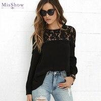 Black Lace Blouse 2017 MisShow Women Tops Blouses Female Shirts Feminine Chiffon Puff Long Sleeve Blouse
