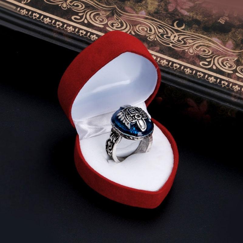 Velvet Heart Shape Jewelry Display Box Stud Rings Earring Storage Case Box