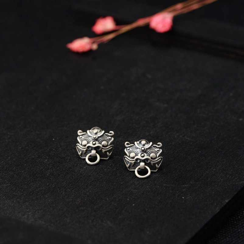 8f94e4f485951 BALMORA 925 Sterling Silver Ancient Chinese Animal Stud Earrings for Women  Men Vintage Dragon Fashion Jewelry Brincos SY31318
