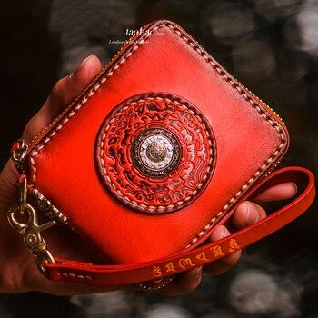 Tibetan magic character pattern manual women wallets genuine leather activity law wheel embossed short paragraph men's wallet