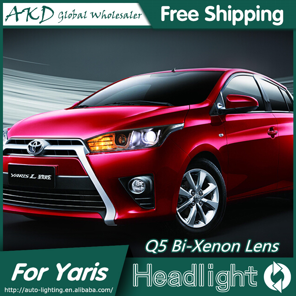 AKD Car Styling for Toyota Yaris Headlights 2014-2015 New Yaris LED Headlight DRL Bi Xenon Lens High Low Beam Parking Fog Lamp hireno car styling for toyo ta corolla 2011 13 headlights led super bright headlight drl xenon lens high fog lam