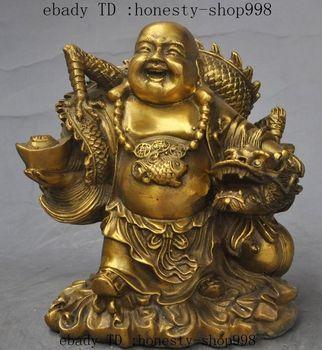 """6""""China Buddhism Brass Wealth YuanBao Dragon Happy Laugh Maitreya buddha Statue"""
