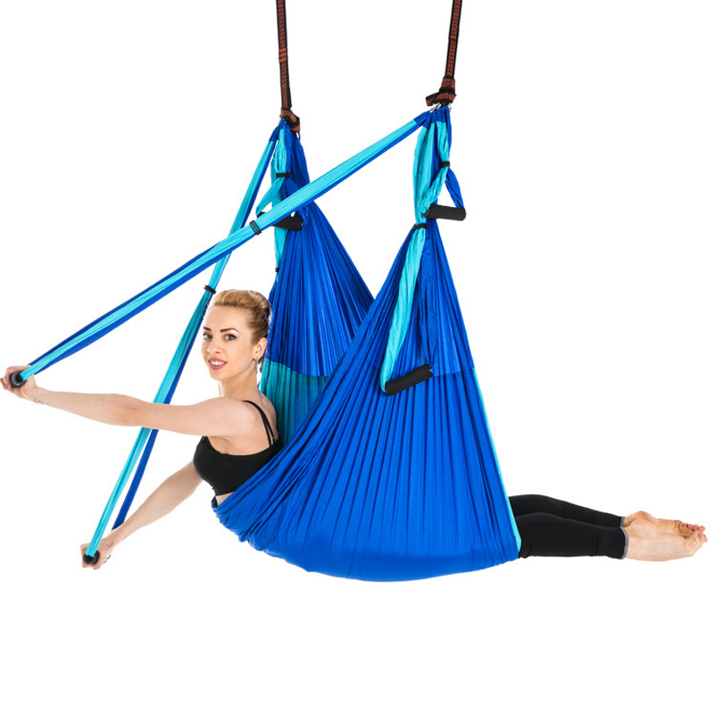 Fitness Inversion Belts Nylon Taffeta Yoga Hammock Anti-Gravity Aerial High Strength Hamac Hanging Chair 6 Handles Swing Bed fitness yoga hammock yoga swing anti gravity aerial straps high strength fabric decompression hammock mix color with 6 grip hand