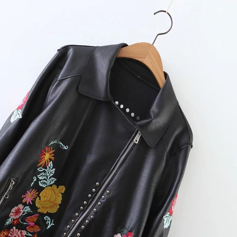 Rock Jk266 Cuir Floral Bomber Automne En Femmes Black Pu Veste Printemps Brodé Harajuku Courte Rivet Olgitum Noir xX0wRqfZx