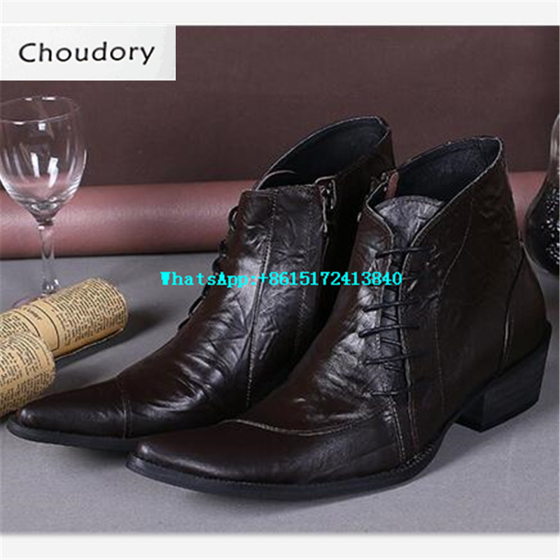 Choudory Leather Pointed Toe Elastic Solid Shoes High Heels Chukka Boots Men Height Increasing Brown High Quality Ankle Boots
