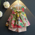 Girls Clothes Summer 2016 Brand Kids Girls Clothing Sets Fashion Sleeveless Printing Floral Shirt+Shorts Suit Children Clothing