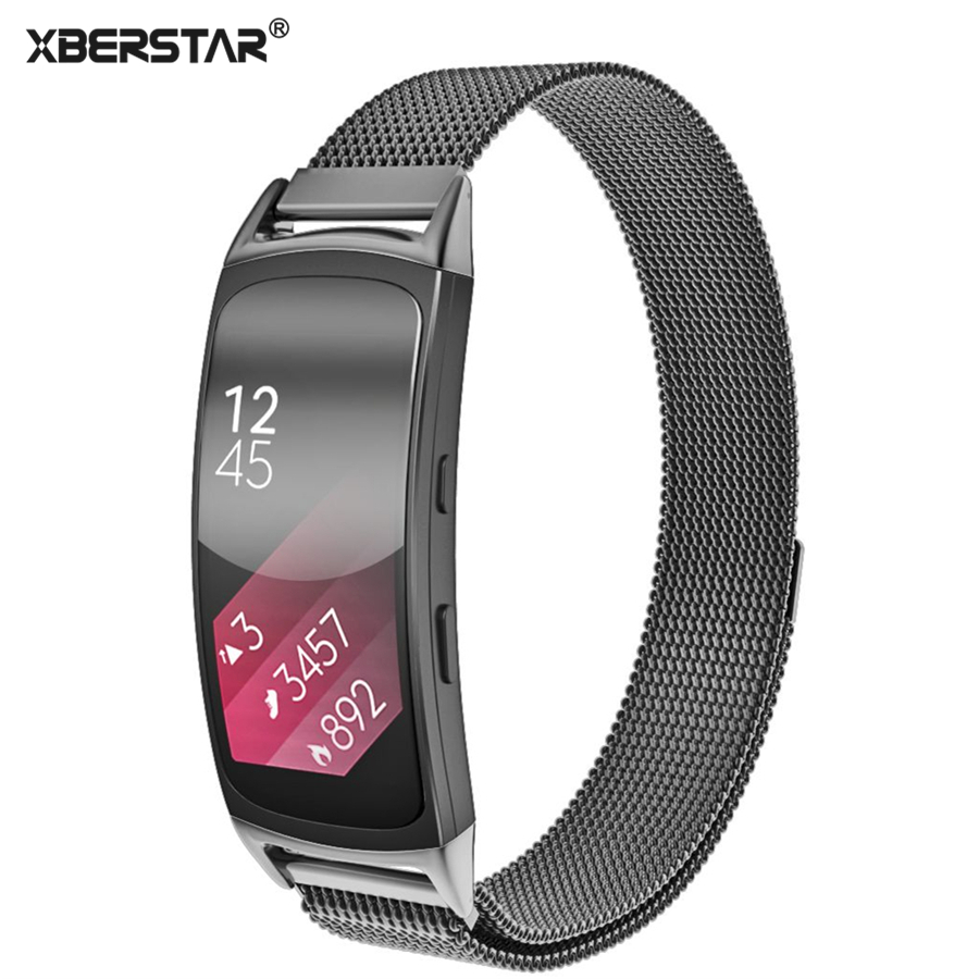 Stainless Steel Mesh Milanese Magnetic Loop Wrist Bands Bracelet Strap For Samsung Galaxy Gear fit 2 SM-R360 GPS Fitness tracker crested luxury magnetic milanese loop wrist strap