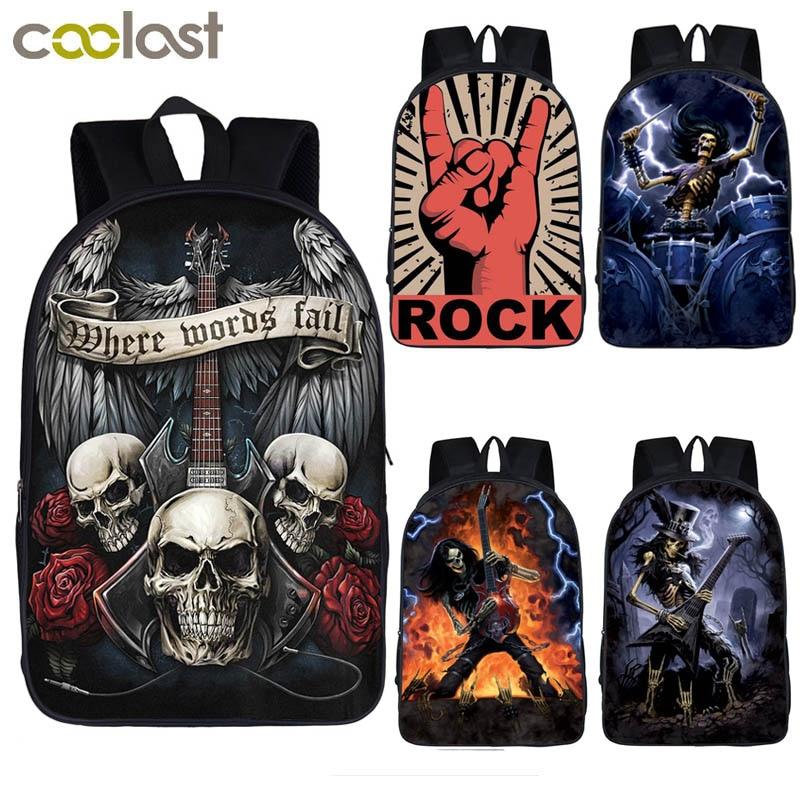 Book-Bag Laptop Backpack Rock-Guitar-Rose-Backpack Skull Teenage Punk Metal Heavy Girls