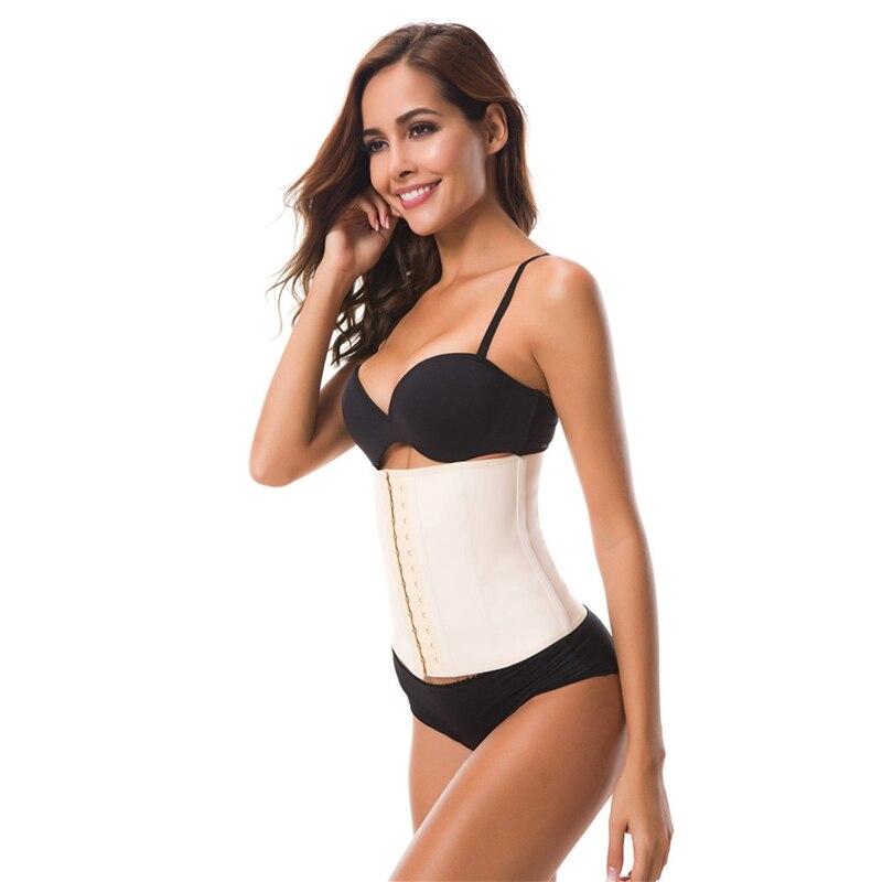 9dc1094fa0a 2019 Big Hooks Women Body Shaper Tummy Control Latex Waist Trainer ...