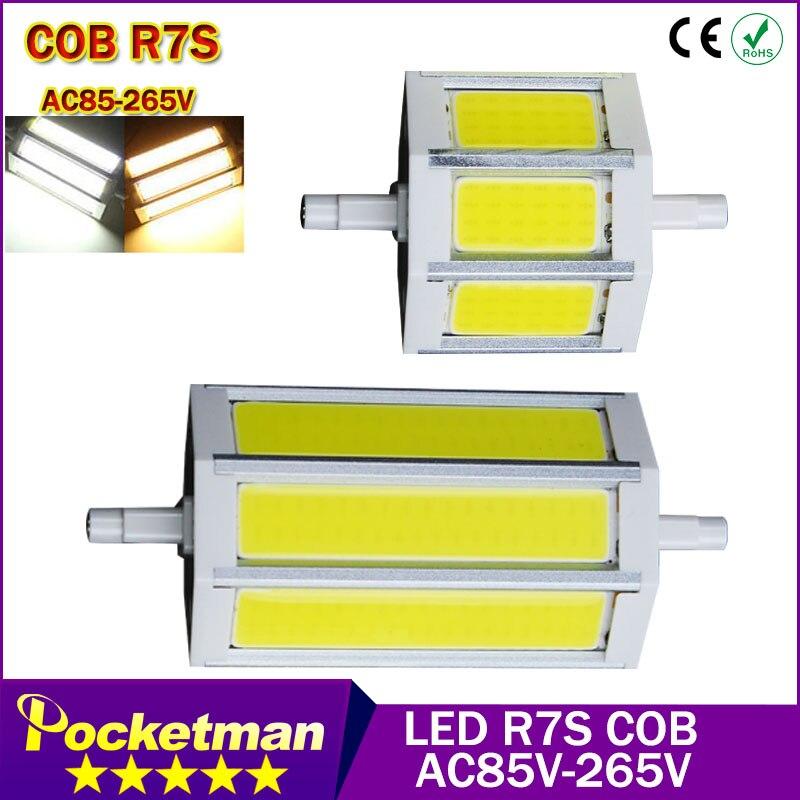 R7S COB led bulb r7s led lights78mm 8W 118mm 12W Led Light COB Lamp AC85 265V