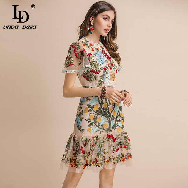 Summer Dress Women's Flare Sleeve Floral Embroidery Elegant Mesh Hollow Out Midi Dresses