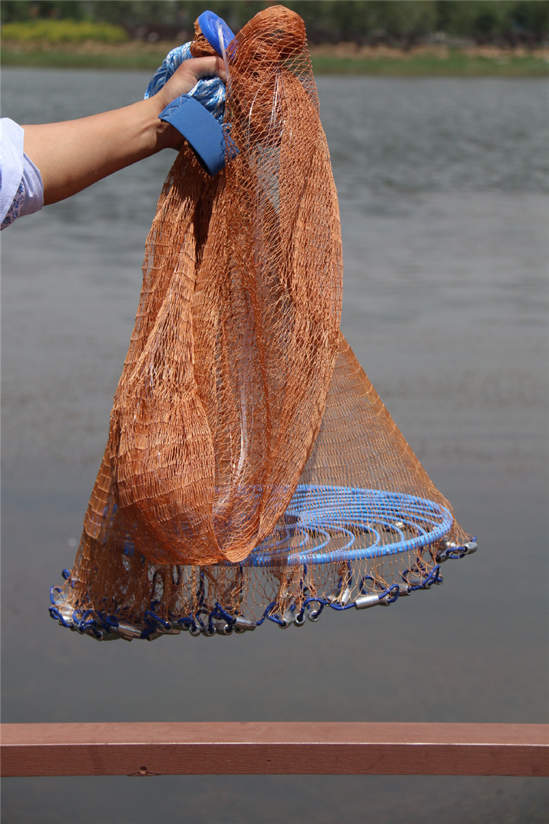Upgraded American Hand Cast Net with Flying Disc High Strength Fly Casting Fishing Network 300360420480540600720cm Height (8)