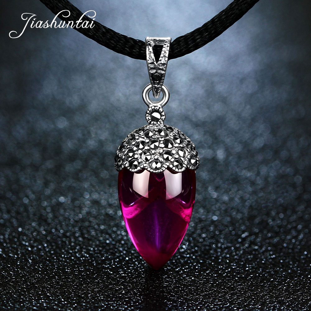 JIASHUNTAI Retro 100% 925 Silver Sterling Ruby Red Gemstone Pendant Necklace Silver Jewelry For Women Fashion fashion candy color faux gemstone pendant alloy necklace for women