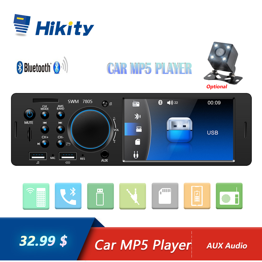 Hikity 4.1 Inch TFT 1 Din Car Radio Audio Stereo FM Radio Bluetooth MP5 Player Support Rear View Camera with Remote Control image