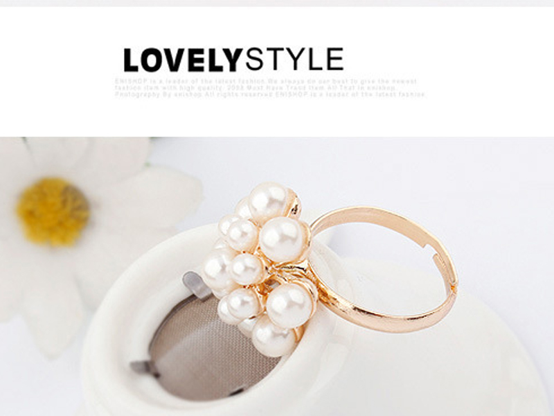 New Style Fashion Korean Golden Elegant Women Ladies Lovely Girls Simulated Pearl Flower Ring Women's Jewelry aneis feminino 3