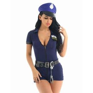 Image 2 - Kobiety policjant jednolite przebranie na karnawał krótkie rękawy dekolt w szpic wbudowane spodenki sukienka z kajdankami pas kapelusz Sexy kostiumy