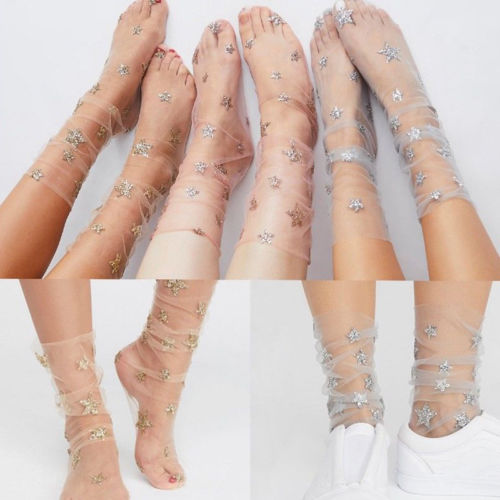New Fashion Glitter Star Soft Mesh Stockings Transparent Elastic Sheer Stocking Perspective Installation Stockings