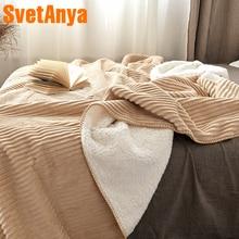 Svetanya thick warm Throws Blanket 200x230cm 150x200cm Velvet Sherpa Line Plaids can use as Sheet